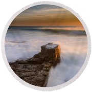 Sunset Over A Rough Sea II Round Beach Towel