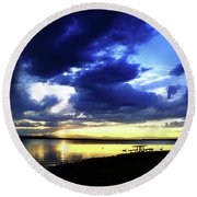 Sunset Over Aurora II Round Beach Towel