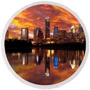 Sunset Over Austin Round Beach Towel