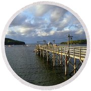Sunset Over Bar Harbor Round Beach Towel
