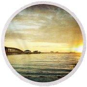 Sunset Over Biloxi Bay Round Beach Towel