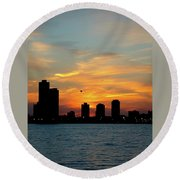 Sunset Over Chicago 0349 Round Beach Towel