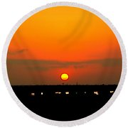 Sunset Over Ft Worth From I30 Round Beach Towel