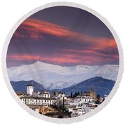 Sunset Over Granada And The Alhambra Castle Round Beach Towel