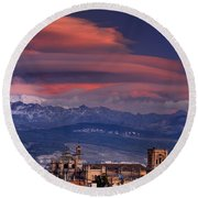 Sunset Over Granada And The Cathedral Round Beach Towel