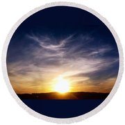 Sunset Over Hills With Clouds Round Beach Towel