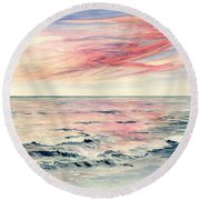 Sunset Over Indian Ocean Round Beach Towel