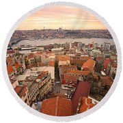 Sunset Over Istanbul Round Beach Towel