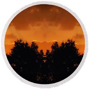 Sunset Over Jackson Michigan Mirror Image Round Beach Towel