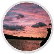 Sunset Over Lake Bailey Round Beach Towel