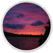 Sunset Over Lake Bailey Round Beach Towel