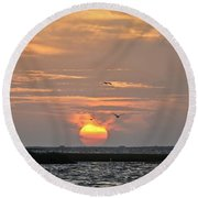 Sunset Over Lake Como Round Beach Towel