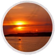 Sunset Over Lake Ozark Round Beach Towel