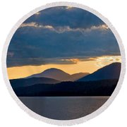Sunset Over Lake Pend Oreille Round Beach Towel