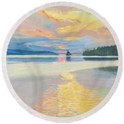 Sunset Over Lake Ruovesi Round Beach Towel