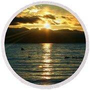 Sunset Over Lake Tahoe Round Beach Towel