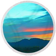 Sunset Over Las Vegas Hills Round Beach Towel