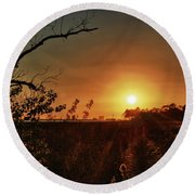 Sunset Over Little Lagoon Bayou Round Beach Towel