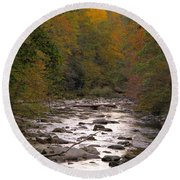 Sunset Over Little River Round Beach Towel