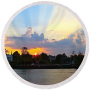 Sunset Over Mauricetown  Round Beach Towel