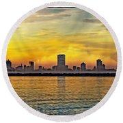 Sunset Over Milwaukee Round Beach Towel