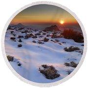 sunset over National park Sierra Nevada Round Beach Towel