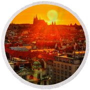 Sunset Over Prague Round Beach Towel