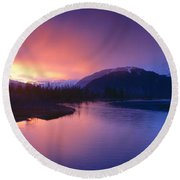Sunset Over Resurrection River And Exit Round Beach Towel