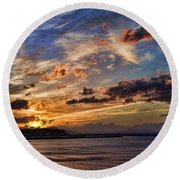 Sunset Over Rethymno Crete Round Beach Towel