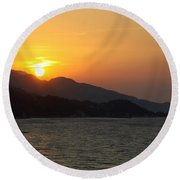 Sunset Over Samos Round Beach Towel