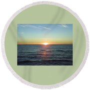 Sunset Over Sea Round Beach Towel