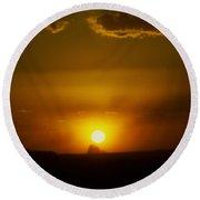 Sunset Over Shiprock Round Beach Towel