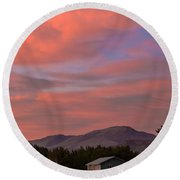 Sunset Over Squaw Butte Round Beach Towel