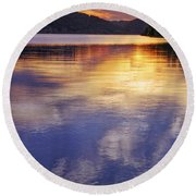 Sunset Over The Arkansas River Round Beach Towel
