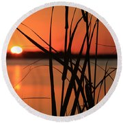 Sunset Over The Bay Round Beach Towel