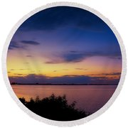 Sunset Over The Causeway Round Beach Towel