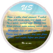 Sunset Over The Dales With Poem Round Beach Towel