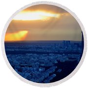 Sunset Over The Eiffel Tower Round Beach Towel