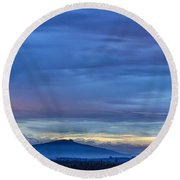 Sunset Over The European Alps Round Beach Towel