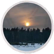 Sunset Over  The Forest Round Beach Towel