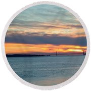 Sunset Over The Golden Gate Round Beach Towel