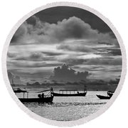 Sunset Over The Gulf Of Thailand Black And White Round Beach Towel