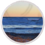 Sunset Over The Ice Round Beach Towel