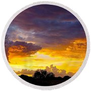 Sunset Over The Mc Dowell Mountains Round Beach Towel