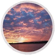 Sunset Over The Narrows Waterway Round Beach Towel