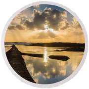 Sunset Over The Ocean I Round Beach Towel