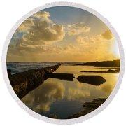 Sunset Over The Ocean II Round Beach Towel