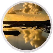 Sunset Over The Ocean V Round Beach Towel by Marco Oliveira