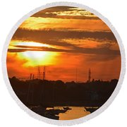 Sunset Over The Salem Willows Round Beach Towel