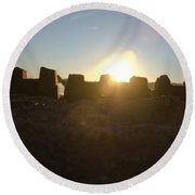 Sunset Over The Sand Castle 3 Round Beach Towel